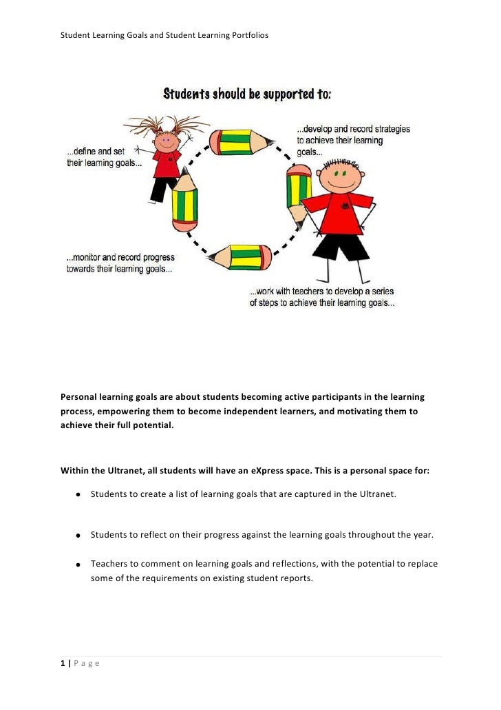 Student Learning Goals and Student Learning PortfoliosPersonal learning goals are about students becoming active participa...