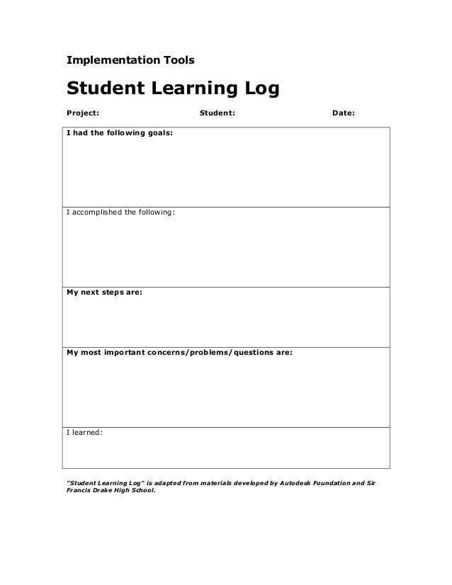 Student learning log for Avid learning log template
