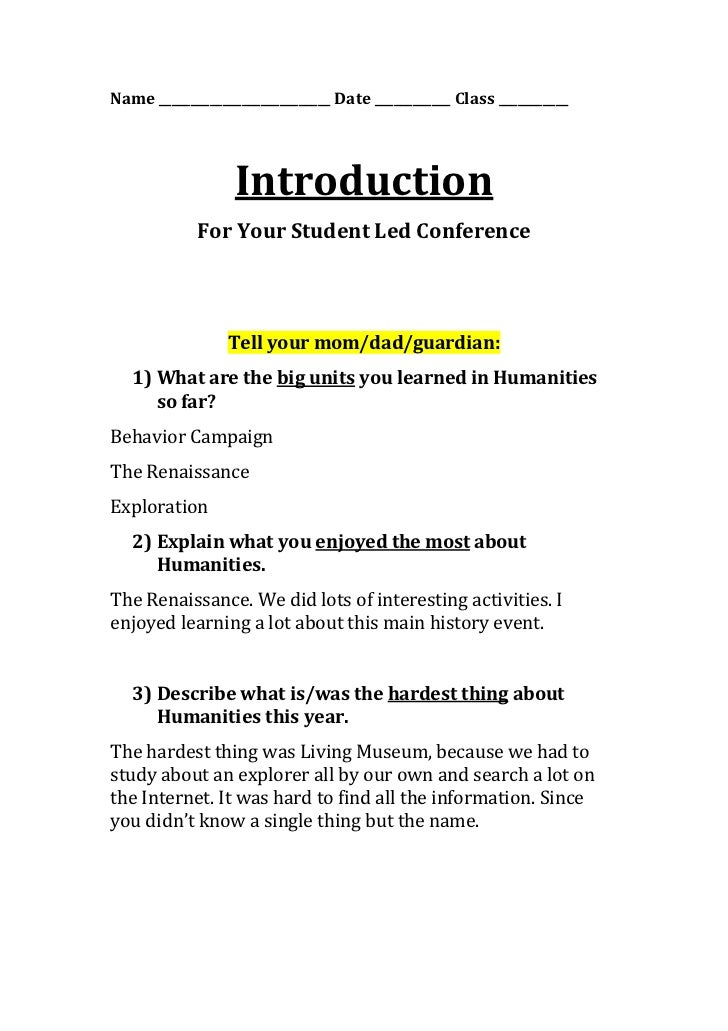Name ___________________________ Date ____________ Class ___________                  Introduction            For Your Stu...