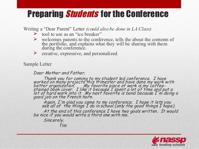 Parent Letter Student Led Conferencing