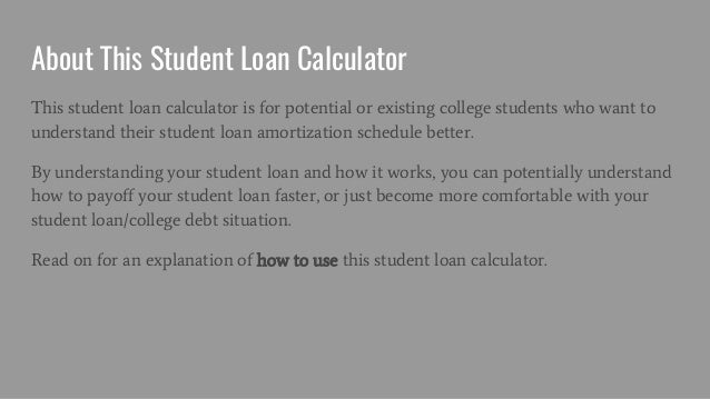 student loan amortization schedule