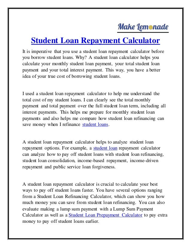 Our student loan calculator student loan planner.