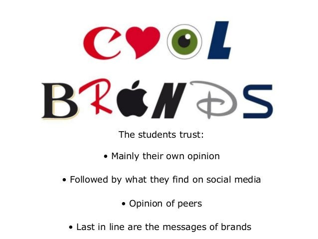 The students trust: • Mainly their own opinion • Followed by what they find on social media • Opinion of peers • Last in l...