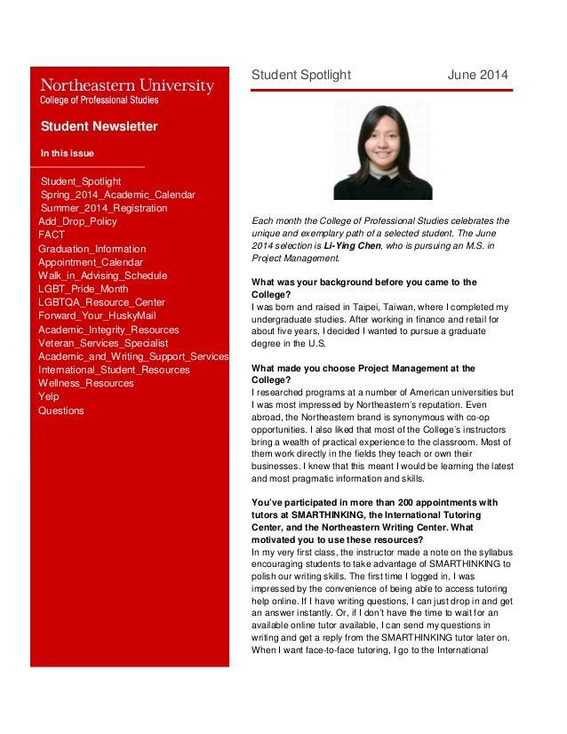 NEU CPS Student newsletter: June 2014