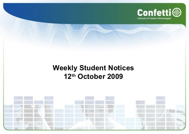 Weekly Student Notices 12th October 2009