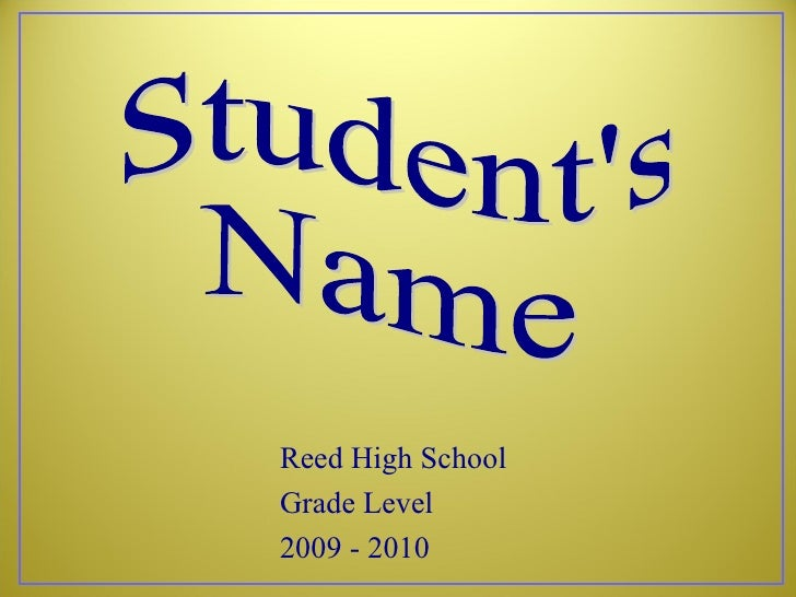 Reed High School Grade Level 2009 - 2010