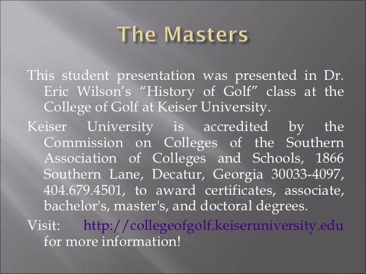 """<ul><li>This student presentation was presented in Dr. Eric Wilson's """"History of Golf"""" class at the College of Golf at Kei..."""