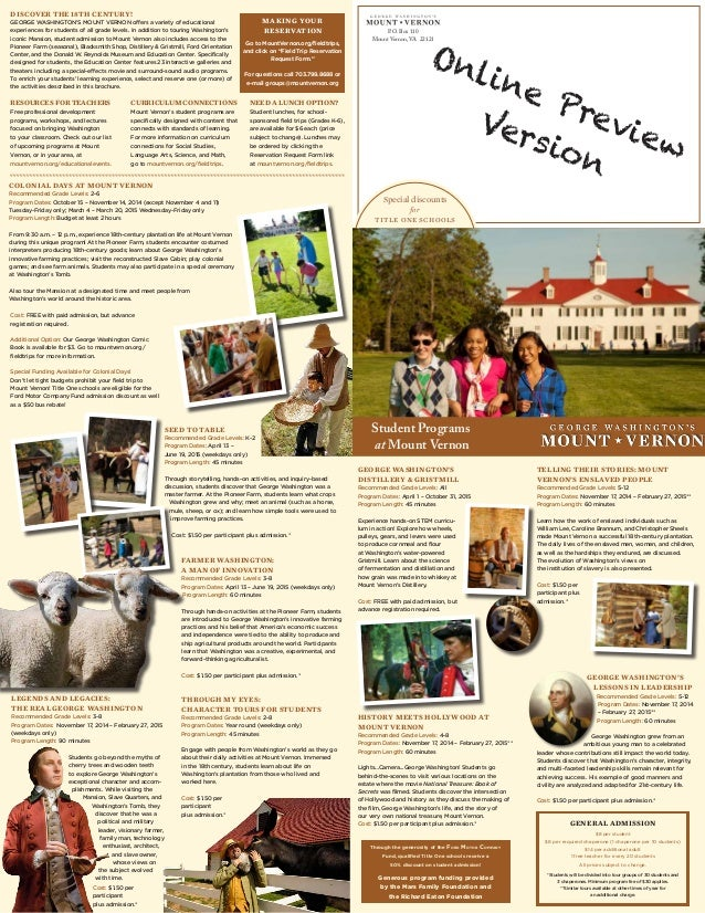 TELLING THEIR STORIES: MOUNT VERNON'S ENSLAVED people Recommended Grade Levels: 5-12 Program Dates: November 17, 2014 – Fe...