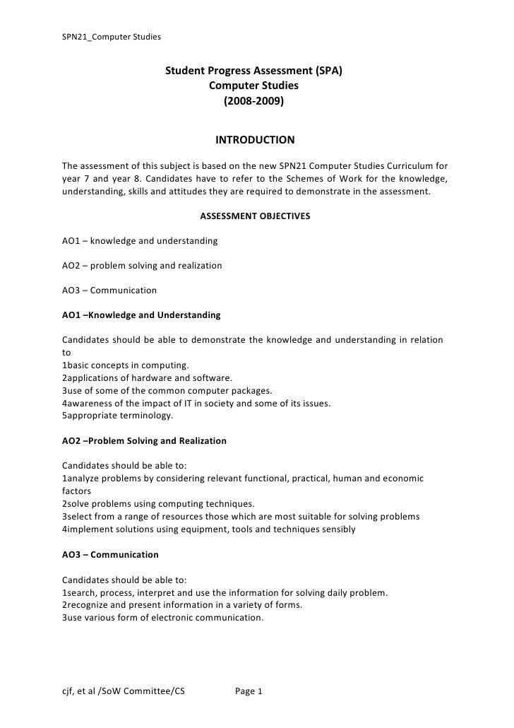 SPN21_Computer Studies                         Student Progress Assessment (SPA)                                 Computer ...