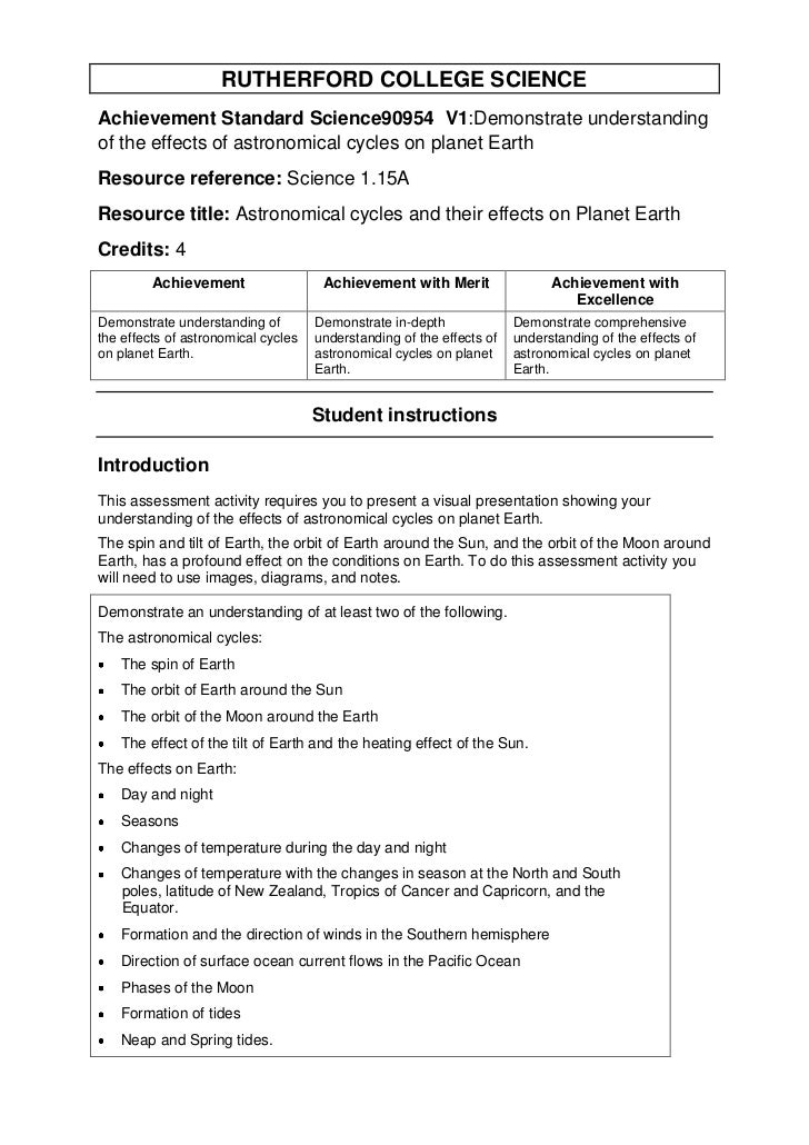RUTHERFORD COLLEGE SCIENCEAchievement Standard Science90954 V1:Demonstrate understandingof the effects of astronomical cyc...
