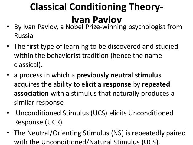 preparedness theory classical conditioning Classical conditioning theory involves learning a new behavior via the process of  association in simple terms two stimuli are linked together to produce a new.
