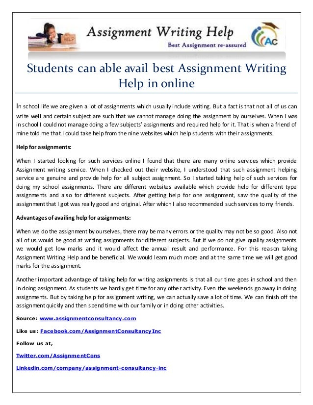 Students can able avail best Assignment Writing Help in online In school life we are given a lot of assignments which usua...