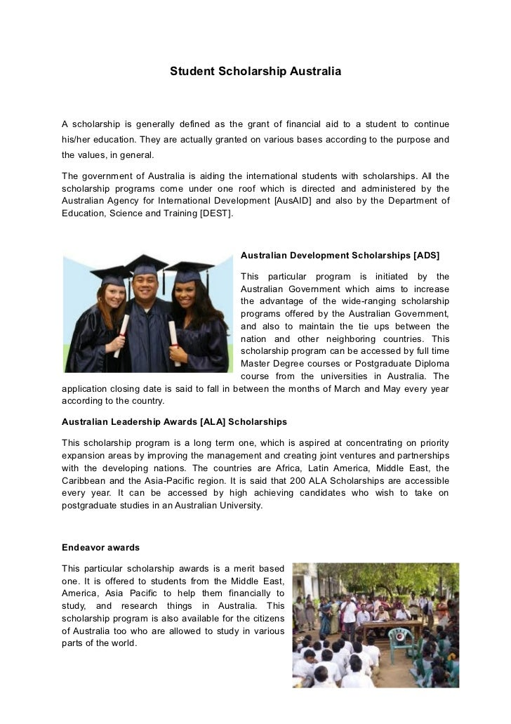 Student Scholarship AustraliaA scholarship is generally defined as the grant of financial aid to a student to continuehis/...