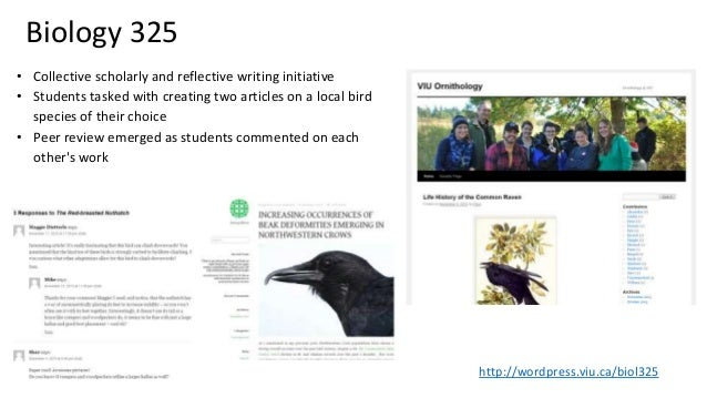 Biology 325 • Collective scholarly and reflective writing initiative • Students tasked with creating two articles on a loc...