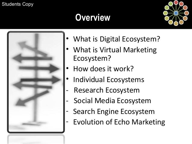 • What is Digital Ecosystem? • What is Virtual Marketing Ecosystem? • How does it work? • Individual Ecosystems - Research...