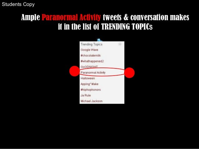 Ample Paranormal Activity tweets & conversation makes it in the list of TRENDING TOPICS Students Copy