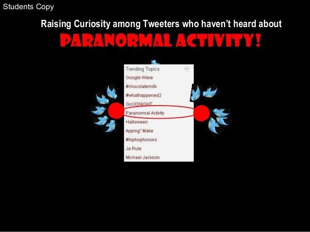 Raising Curiosity among Tweeters who haven't heard about Paranormal Activity! Students Copy