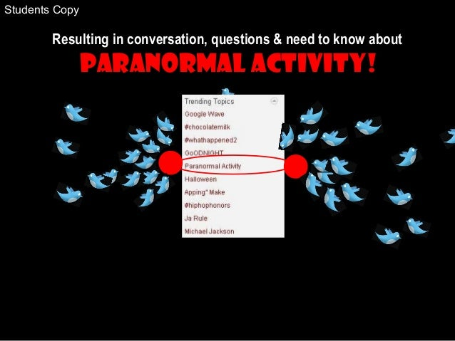 Resulting in conversation, questions & need to know about Paranormal Activity! Students Copy