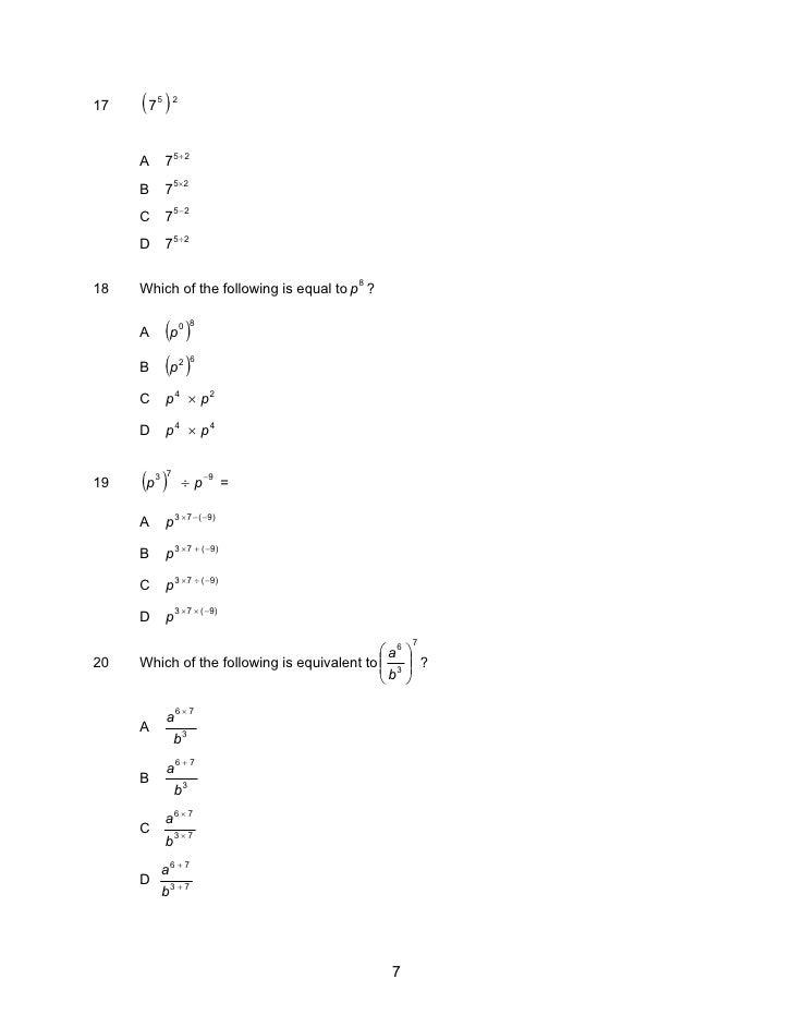 (7 )5     2 17                75+2      A              7 5×2      B              75−2      C              7 5 ÷2      D   ...