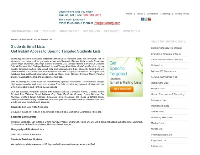 7/17/2015 StudentsEmailLists,StudentMailingDatabase,StudentsDirectory http://www.elistsorg.com/students_email_lists...