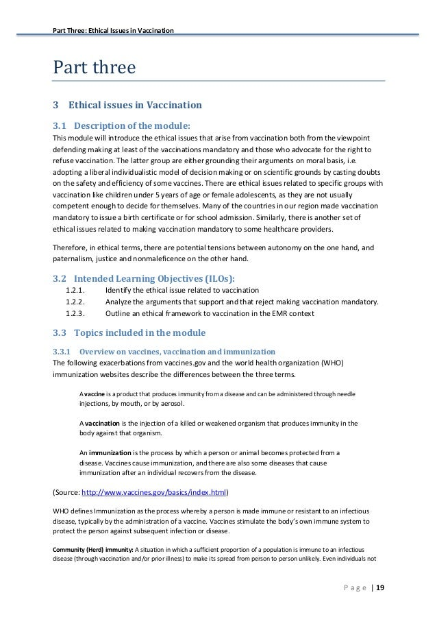 Part Three: Ethical Issues in Vaccination   19P a g e Part  three 3 Ethical issues in Vaccination 3.1 Description of the...