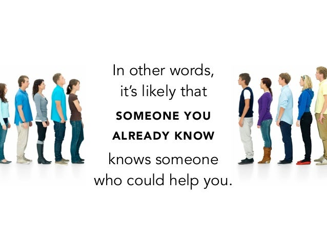 In other words,it's likely thatSOMEONE YOUALREADY KNOWknows someonewho could help you.