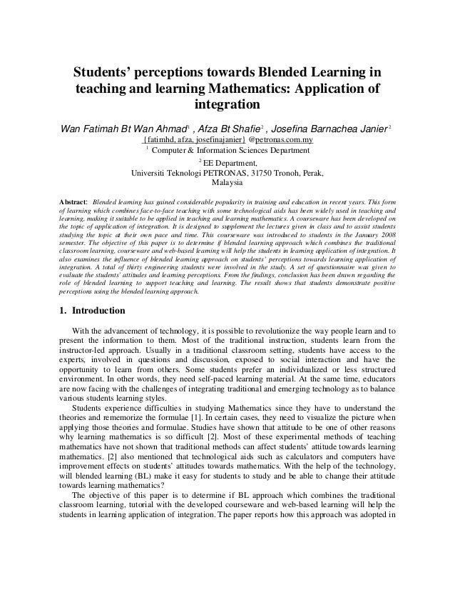 Students' perceptions towards Blended Learning in teaching and learning Mathematics: Application of integration Wan Fatima...