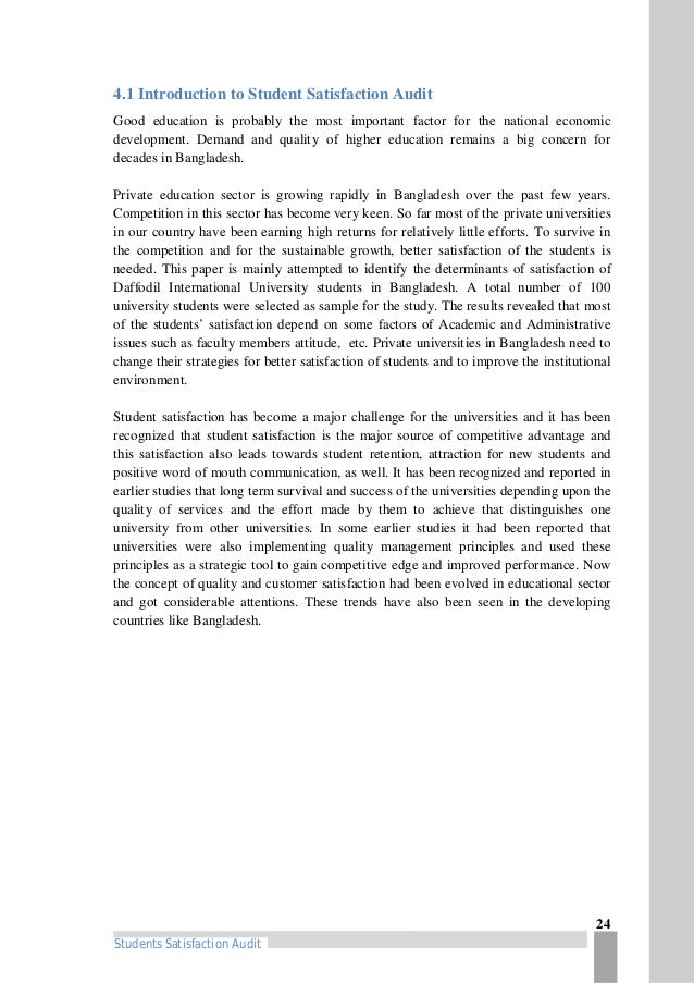 "Students Satisfaction Audit"" of Daffodil International University"