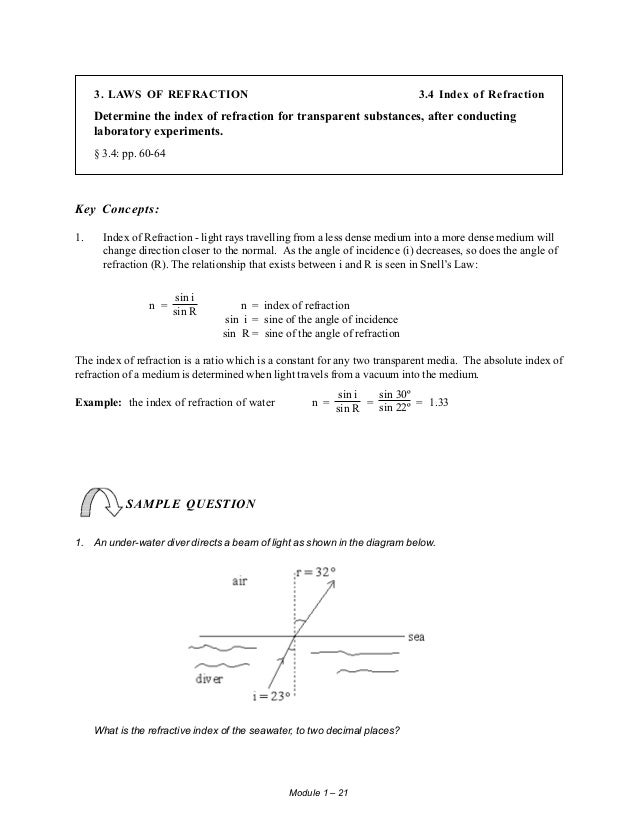 student study guide physics 534 rh slideshare net Science Refraction A Camera Does Light Refract