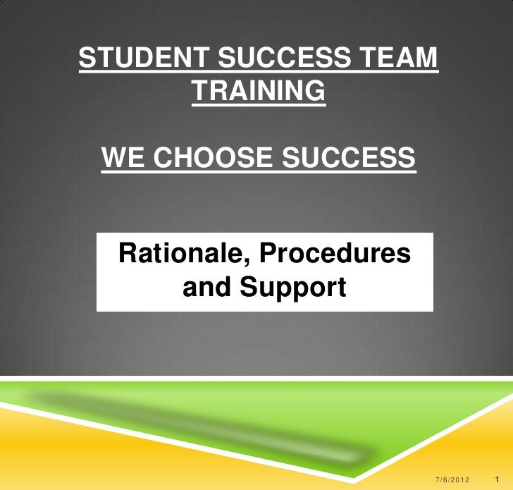 STUDENT SUCCESS TEAM      TRAINING WE CHOOSE SUCCESS  Rationale, Procedures       and Support                          7/6...