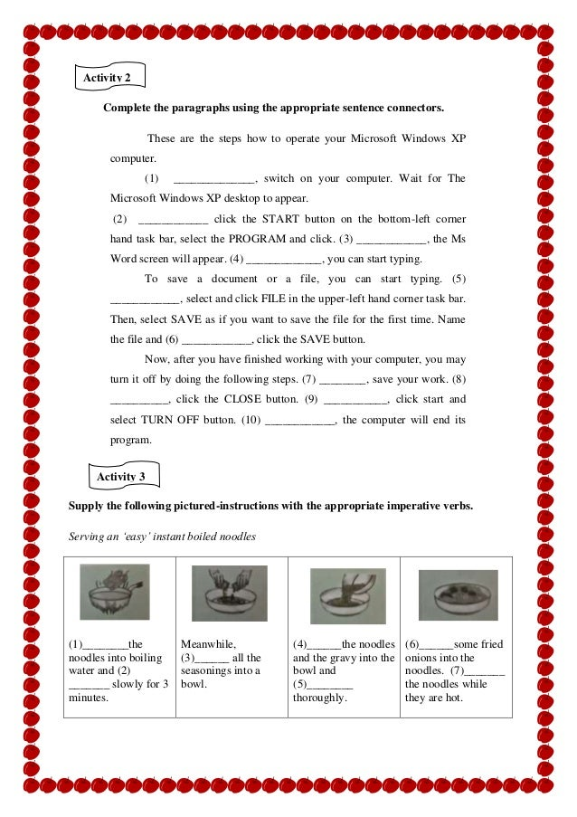 Students Worksheet Procedure Text