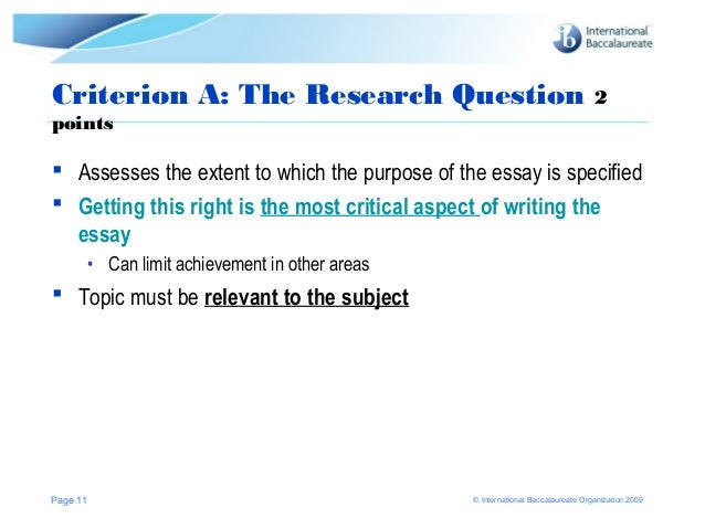 general assessment criteria extended essay Extended essay suggestions the following are based on the chief examinerπs report and my own experience as an ib ee grader general assessment criteria.