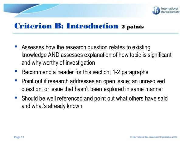ib extended essay assessment Ib extended essay advisor comment and assessment rubric - history supervisor's name: _____ candidate's name: _____ a researchquestion this criterion assesses the.