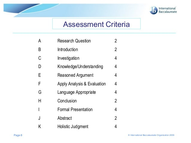 ib extended essay structure