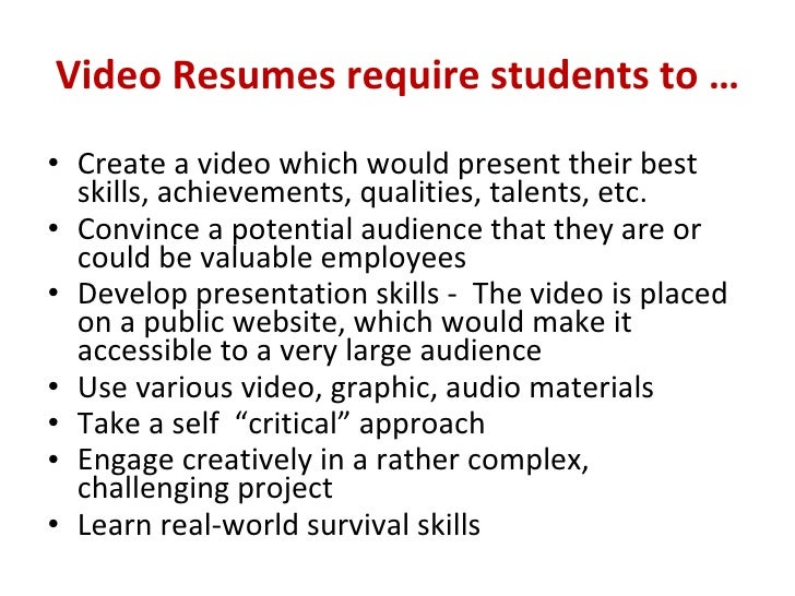 how to make a video resumes