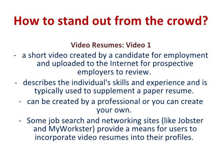 how to do a video resumes