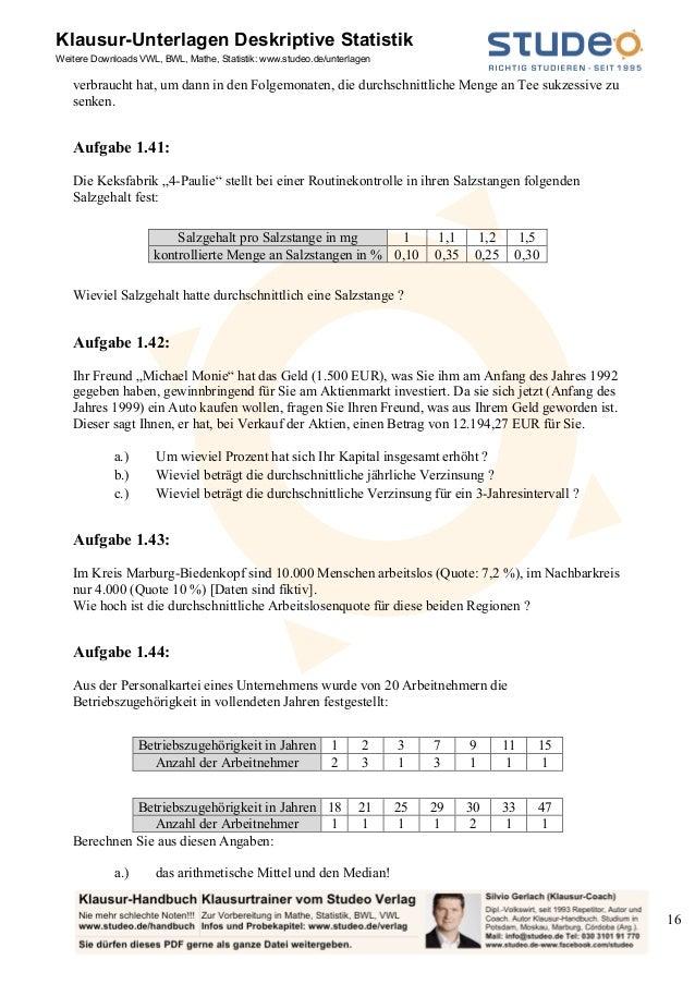 Studeo Aufgabensammlung Deskriptive Statistik - ein-Merkmal
