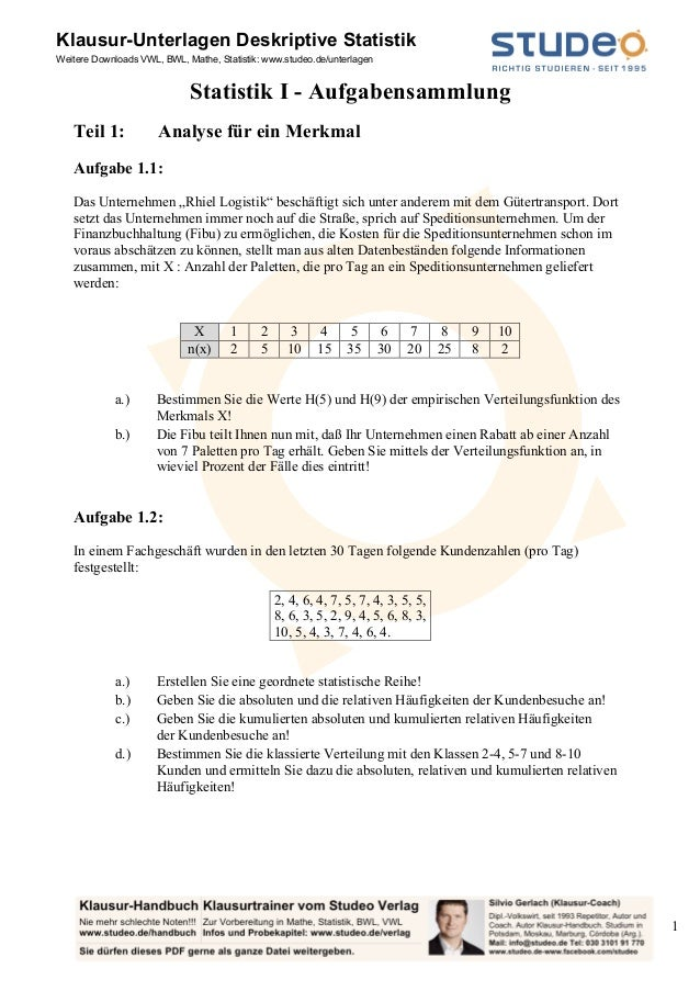 Klausur-Unterlagen Deskriptive StatistikWeitere Downloads VWL, BWL, Mathe, Statistik: www.studeo.de/unterlagen            ...