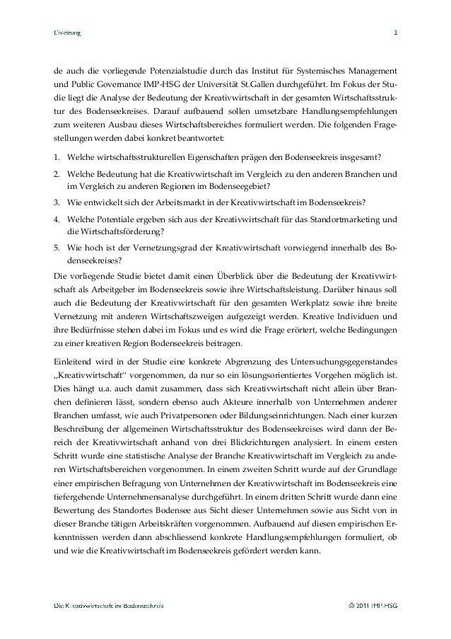 Studie Der Uni St Gallen Zum Thema Kreativwirtschaft Am