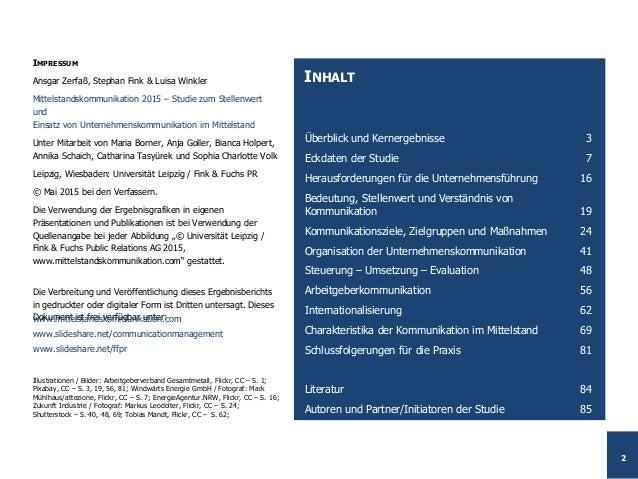 Studie Mittelstandskommunikation 2015 – Ergebnisbericht Slide 2