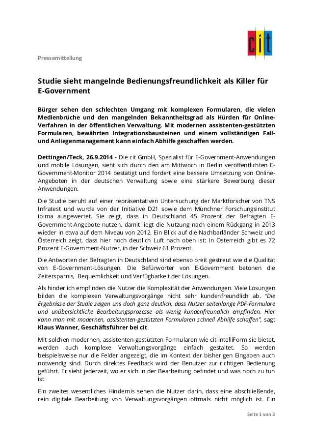 Pressemitteilung  Studie sieht mangelnde Bedienungsfreundlichkeit als Killer für  E-Government  Bürger sehen den schlechte...