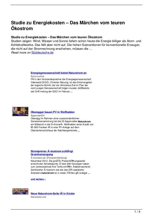 Studie zu Energiekosten – Das Märchen vom teurenÖkostromStudie zu Energiekosten – Das Märchen vom teuren ÖkostromStudien z...
