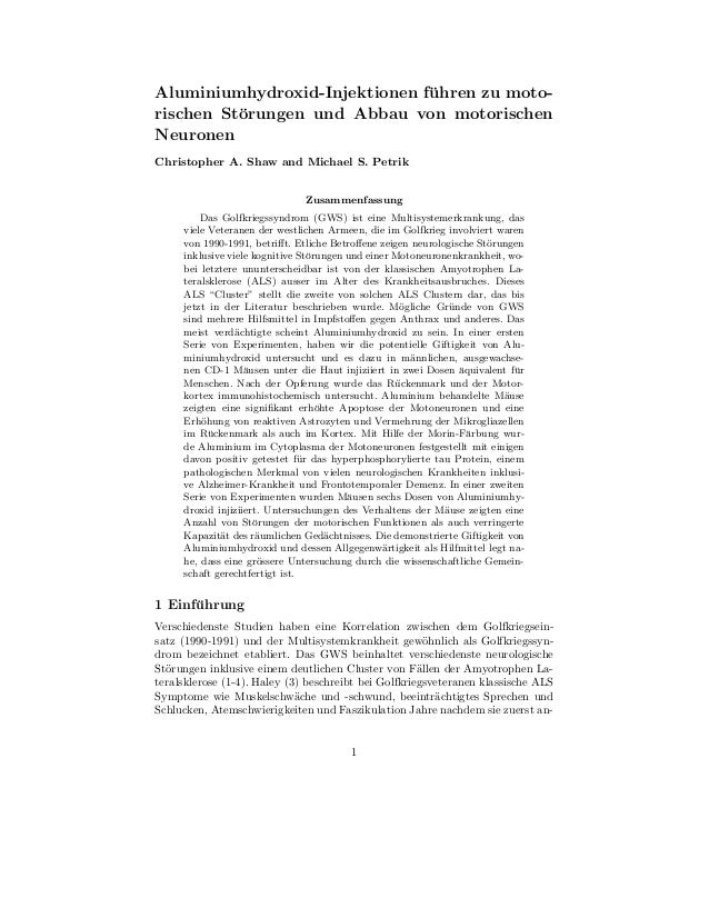 Aluminiumhydroxid-Injektionen fuhren zu moto-                               ¨rischen St¨rungen und Abbau von motorischen  ...