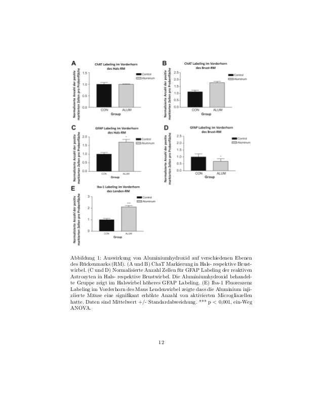 Abbildung 1: Auswirkung von Aluminiumhydroxid auf verschiedenen Ebenendes R¨ckenmarks (RM). (A und B) ChaT Markierung in H...