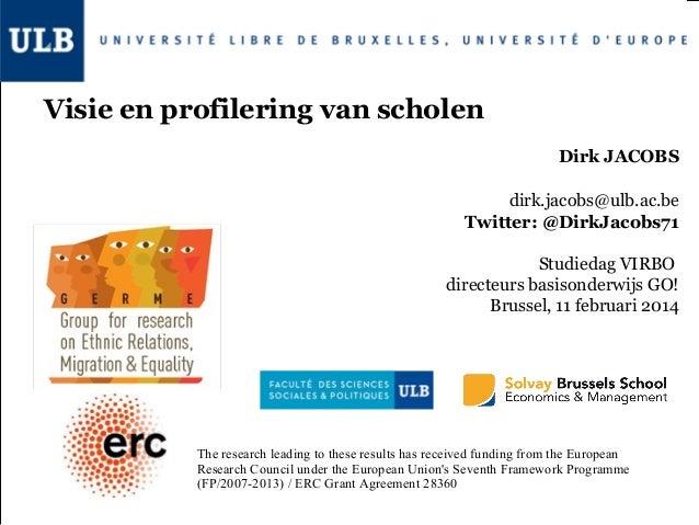 Visie en profilering van scholen Dirk JACOBS dirk.jacobs@ulb.ac.be Twitter: @DirkJacobs71 Studiedag VIRBO directeurs basis...