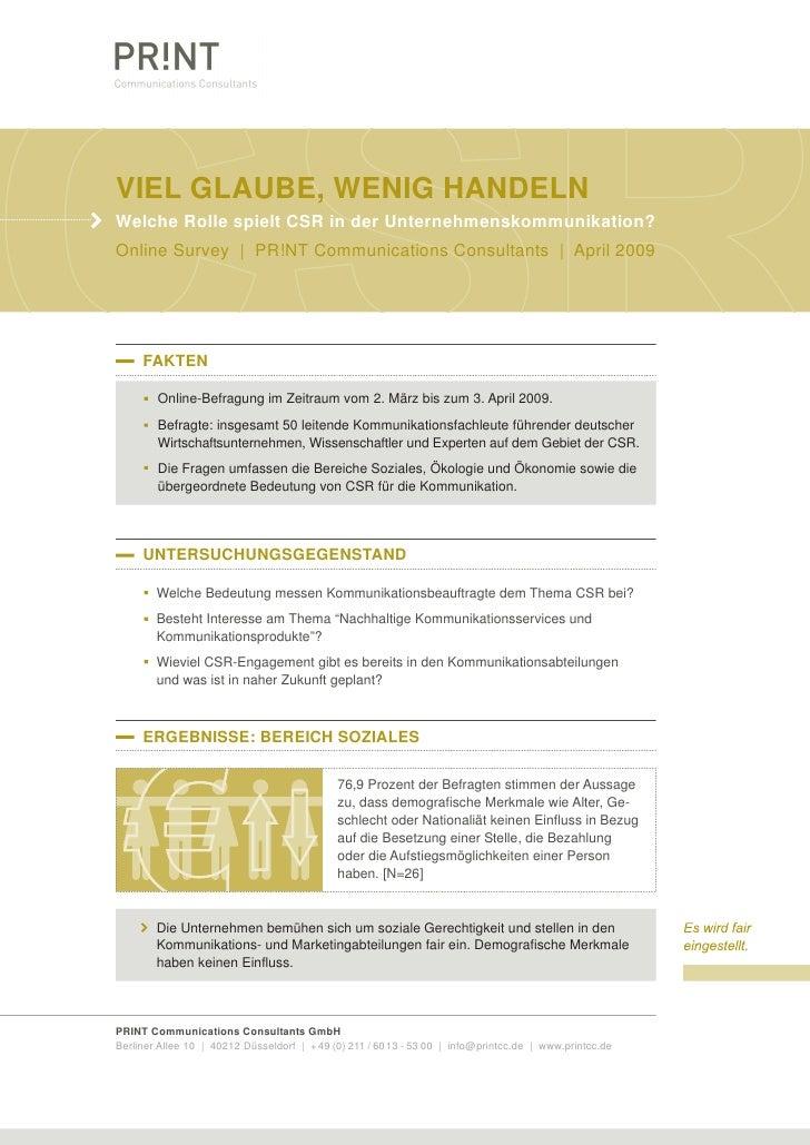 VIEL GLAUBE, WENIG HANDELN Welche Rolle spielt CSR in der Unternehmenskommunikation? Online Survey | PR!NT Communications ...