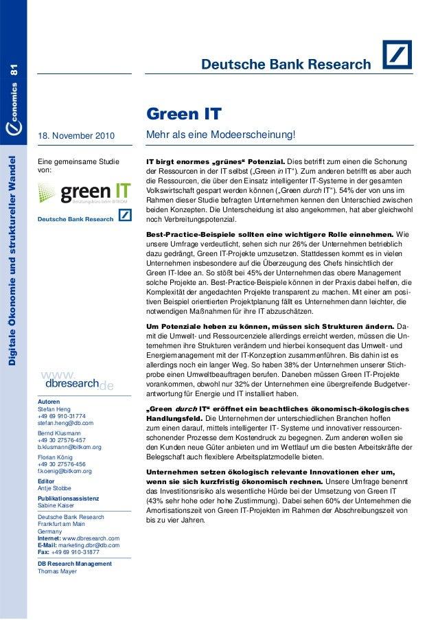 81  Green IT Digitale Ökonomie und struktureller Wandel  18. November 2010  Mehr als eine Modeerscheinung!  Eine gemeinsam...
