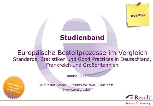 Studienband Europäische Bestellprozesse im Vergleich  Standards, Statistiken und Good Practices in Deutschland, Frankreich...