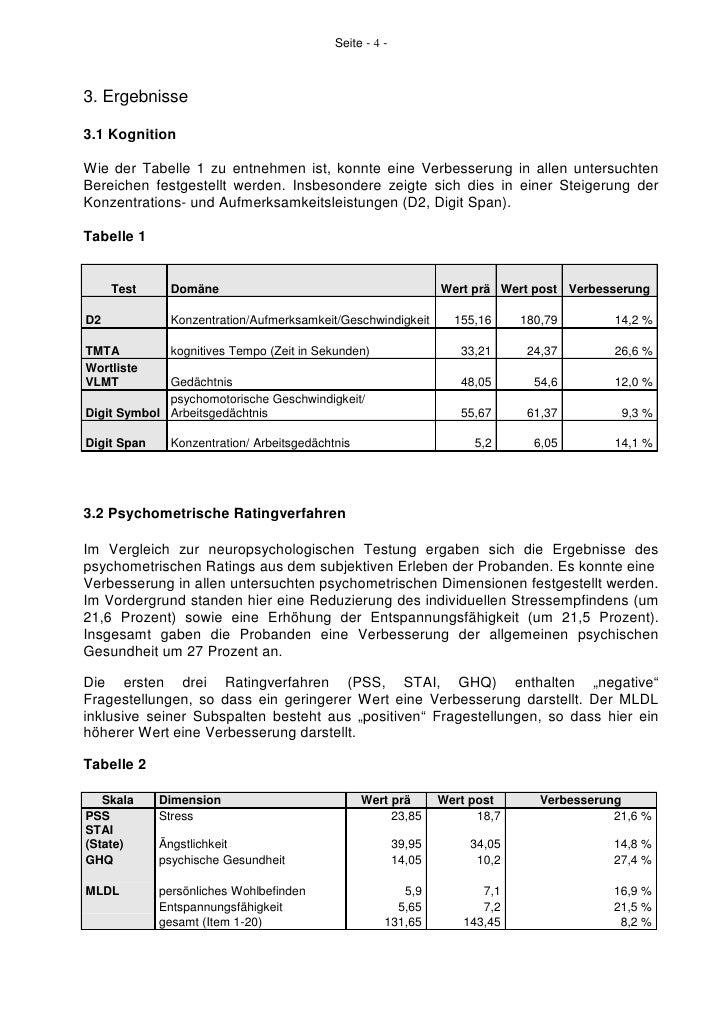 Seite - 4 -3. Ergebnisse3.1 KognitionWie der Tabelle 1 zu entnehmen ist, konnte eine Verbesserung in allen untersuchtenBer...