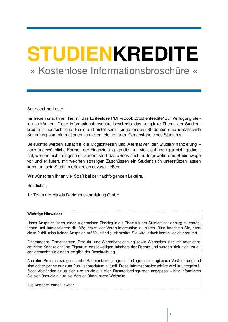 STUDIENKREDITE » Kostenlose Informationsbroschüre «Sehr geehrte Leser,wir freuen uns, Ihnen hiermit das kostenlose PDF-eBo...
